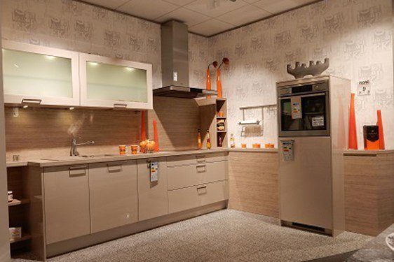 Melaminharz Kaschmir glänzend L-Form Küche in München