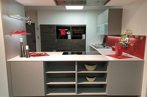U-Küche Perlgrau mit Geräten in Singen