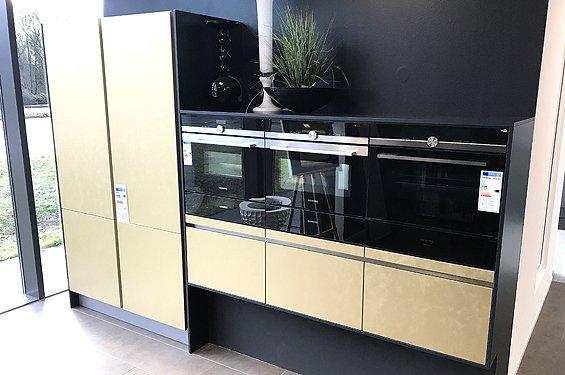 Zweizeilige Küche Gold Metal lackiert