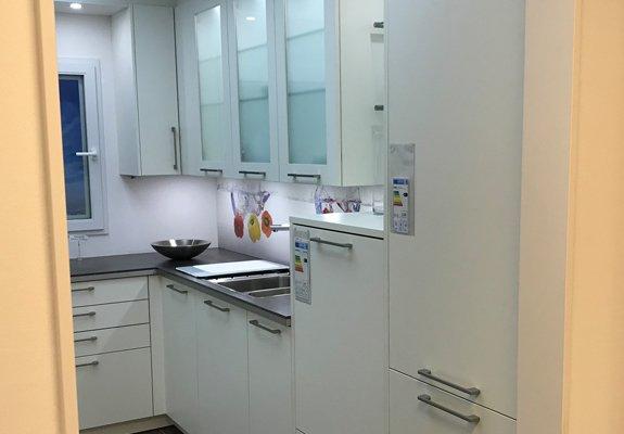 U-Küche weiß/beton