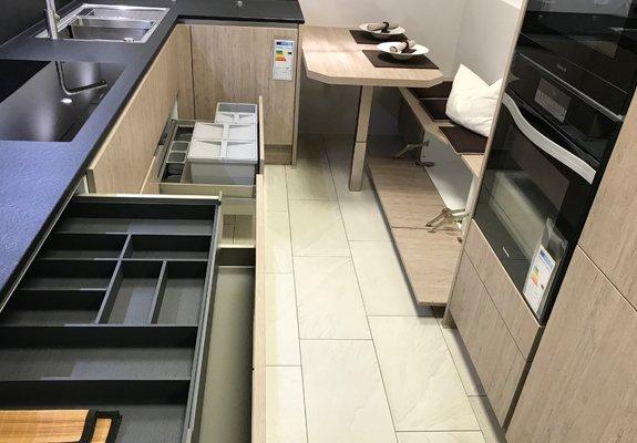 U-Küche Eiche-Seidengrau