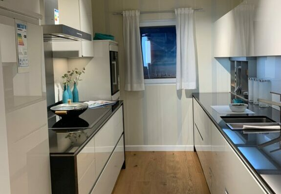 Zweizeilige Küche, kristallweiße Hochglanzfronten mit Geräten in Germersheim