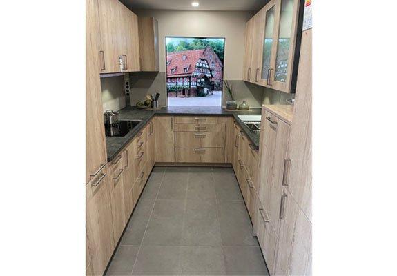 Küche in U-Form Alteiche Sand ohne Geräte in Pforzheim